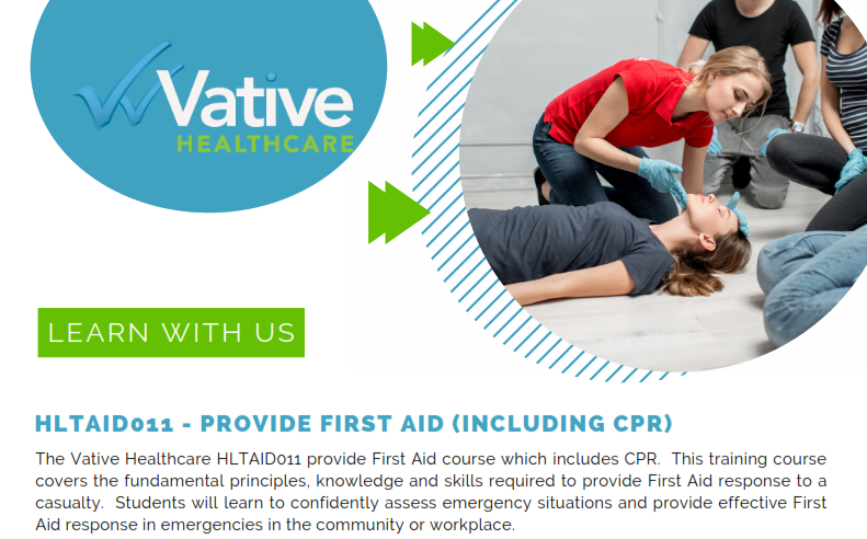HLTAID011 – PROVIDE FIRST AID (INCLUDING CPR)